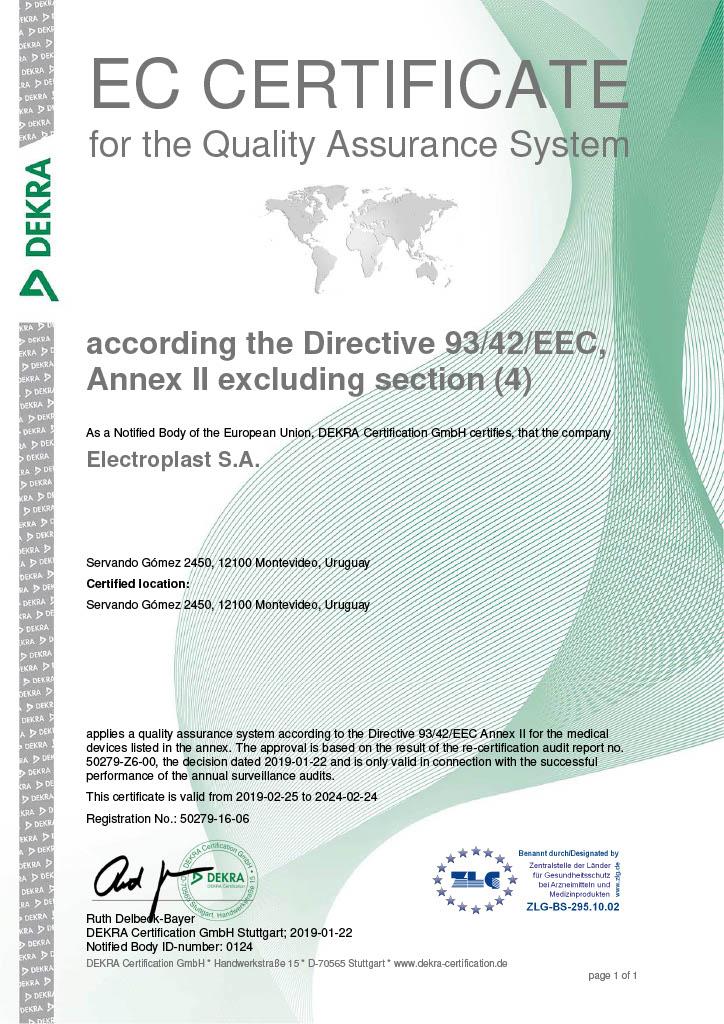Certificado de Calidad CE MARK 0124 Electroplast Dekra Uruguay