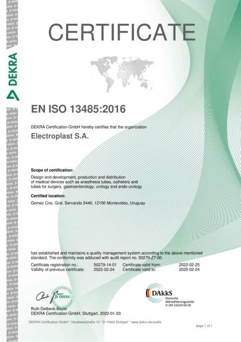 Certificado de Calidad EN ISO 13485 13485:2016 Electroplast Dekra Uruguay