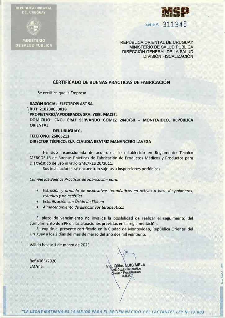Certificado de Calidad GMP/BPF Electroplast MSP Uruguay
